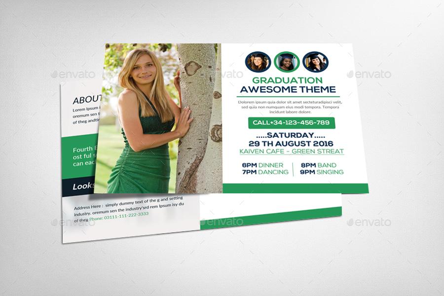 graduation invitation postcard example