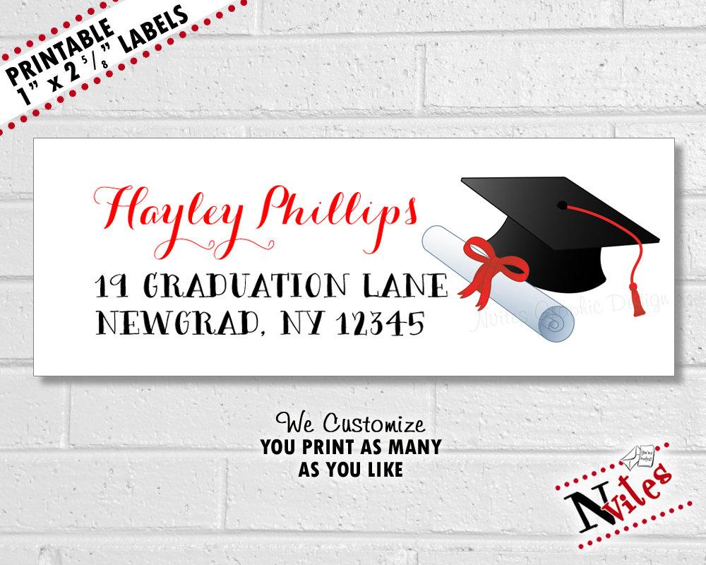 graduation return address label example