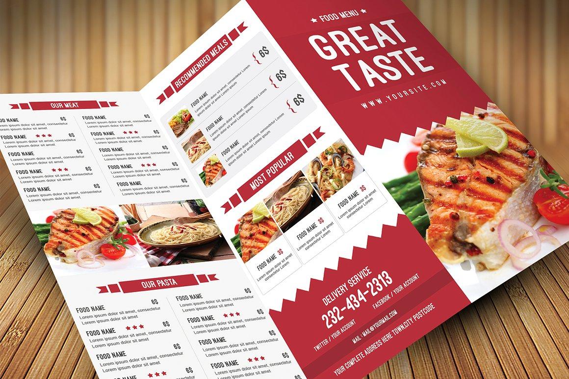 great taste restaurant menu example