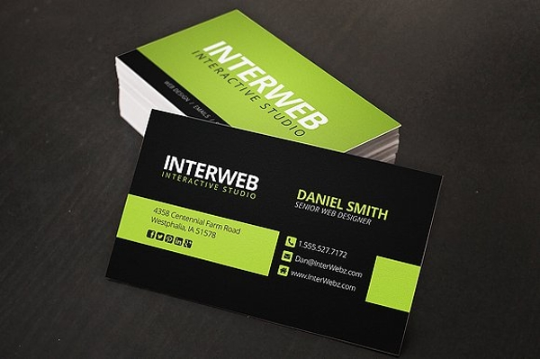 green web designer business card example