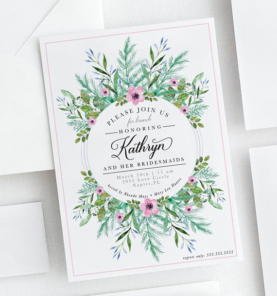greenery and floral luncheon invite example