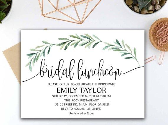 greenery bridal luncheon invitation example