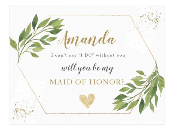 greenery bridesmaids proposal postcard example
