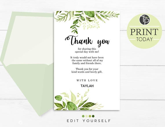 greenery thank you card example