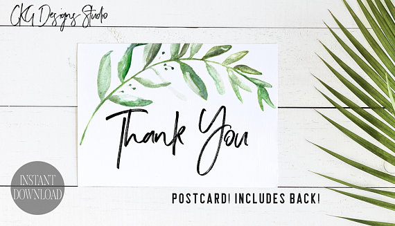 greenery thank you postcard example