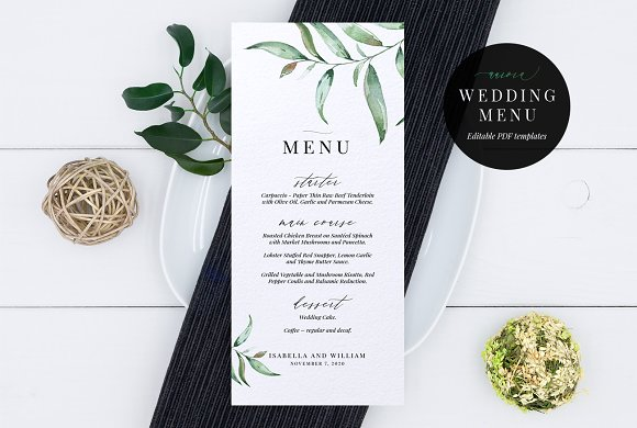 greenery wedding menu card example