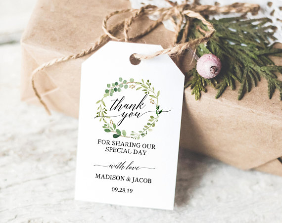 greenery wedding thank you tag