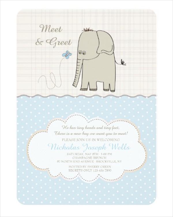 greet baby boy meeting invitation