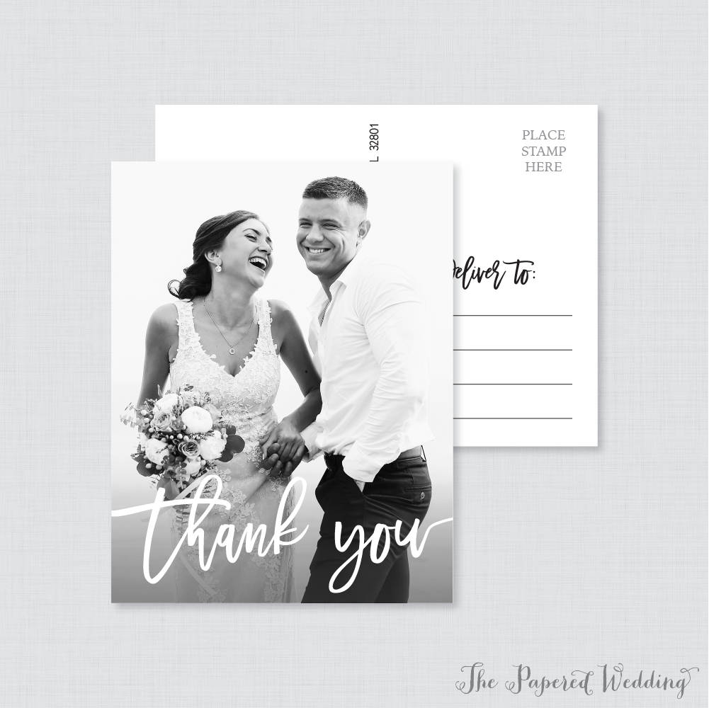 greyscale wedding thank you postcard example