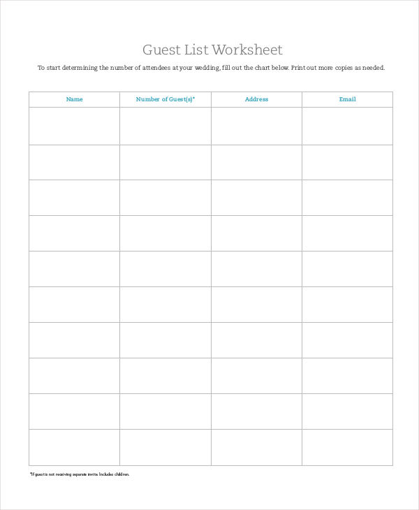 guest list worksheet