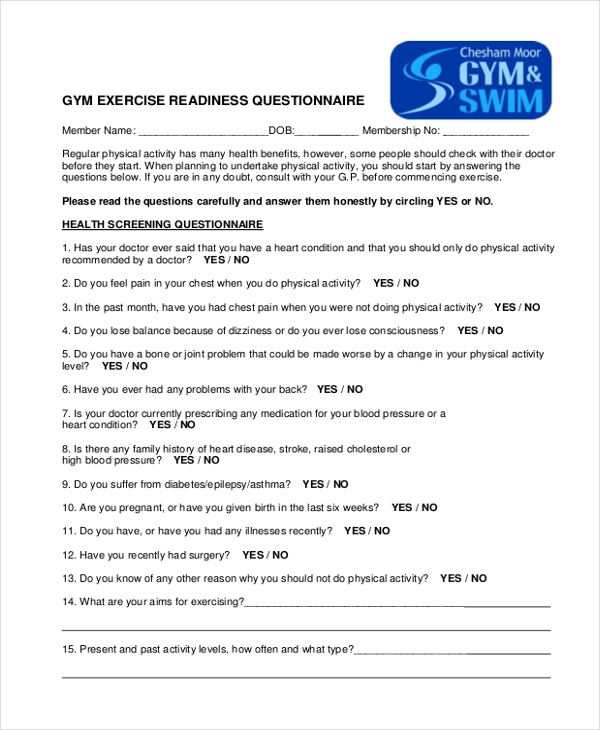 gym fitness readiness questionnaire example