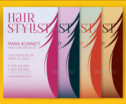 hair care specialist business card example