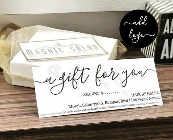 hair salon bridal gift card example