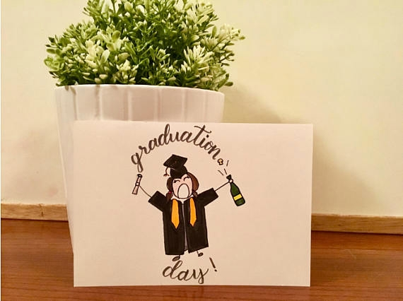 hand drawn graduation postcard example