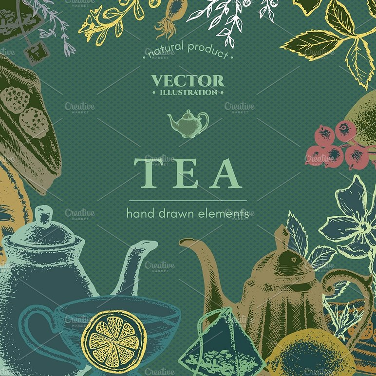 hand drawn style tea menu example
