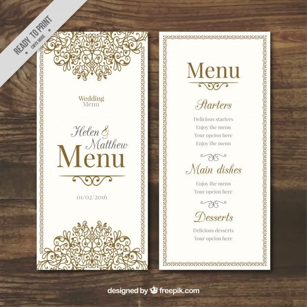 hand drawn wedding menu example