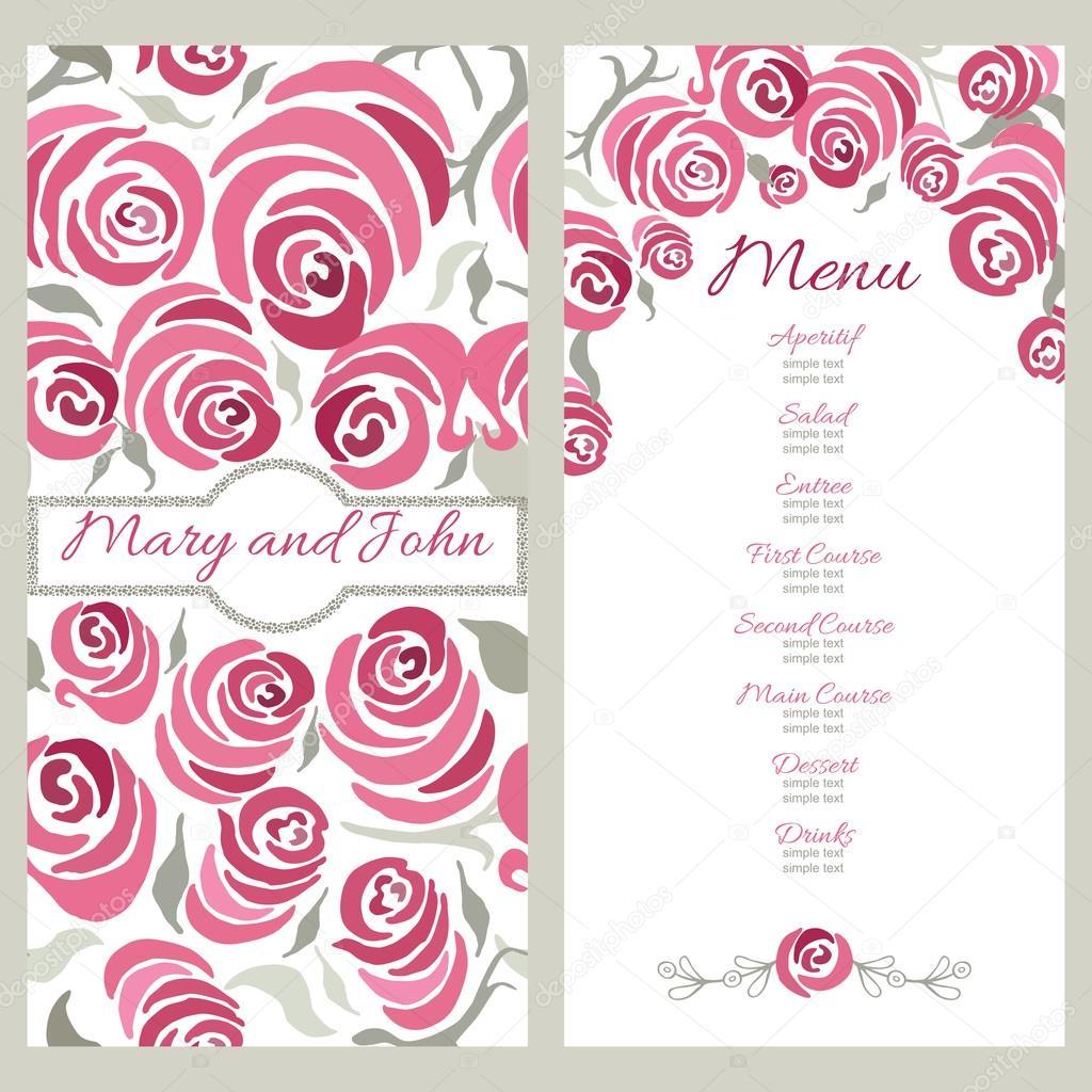 hand painted roses wedding menu example