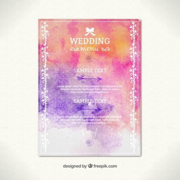hand painted wedding menu example