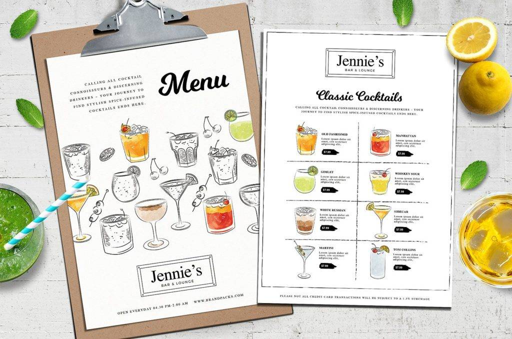 hand sketch cocktail menu example