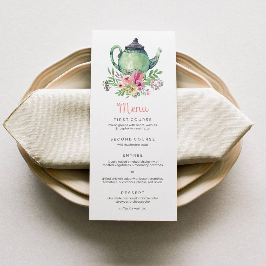 hand paint tea party menu example