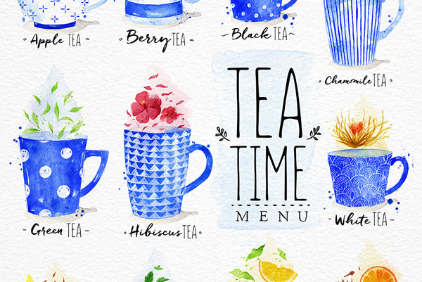 hand paint tea time menu example 2