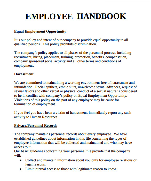 handbook policy template example