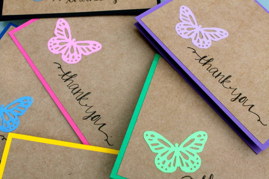 handmade butterfly thank you card example