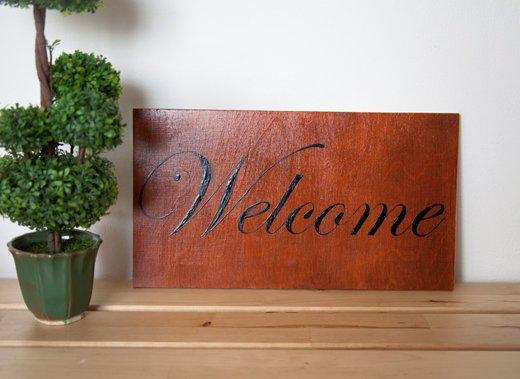 handmade wooden welcome signage design example