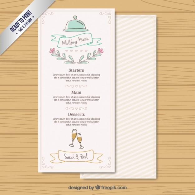 handwritten wedding menu example