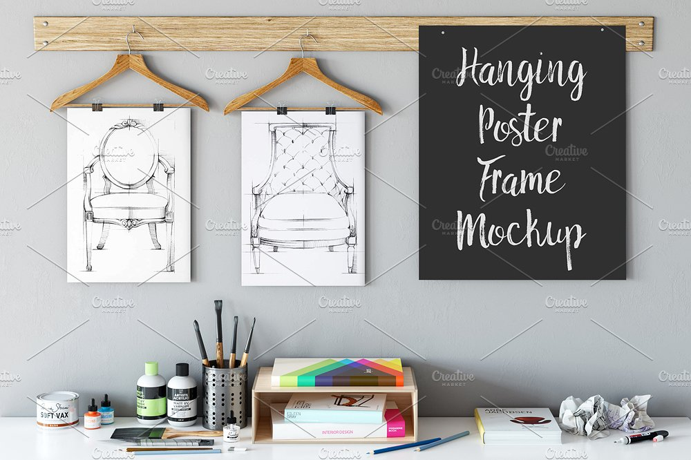 hanging poster frame mockup example