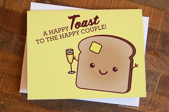 happy toast wedding card example