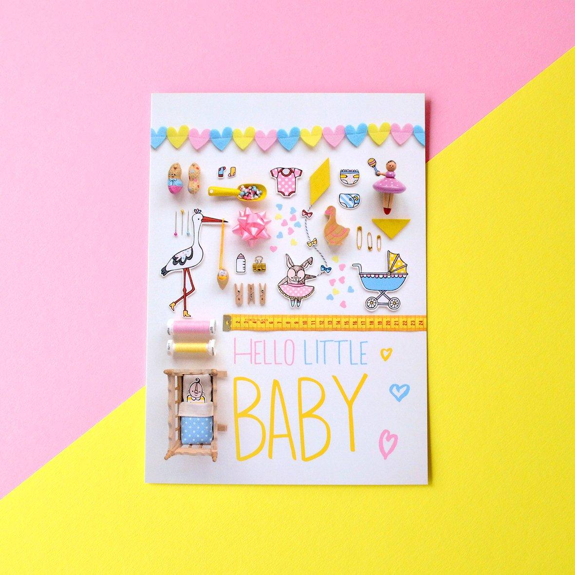 hello little baby postcard example