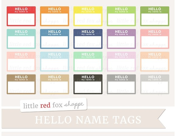 hello name tag clipart example