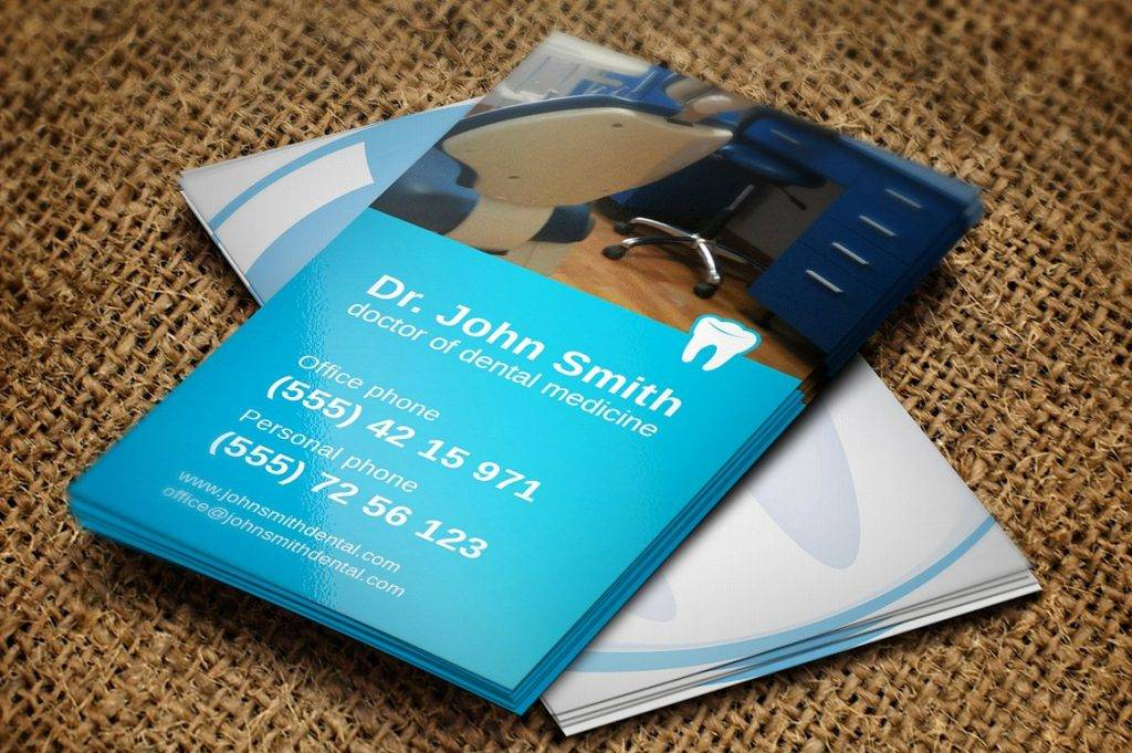 high quality dentist business card example