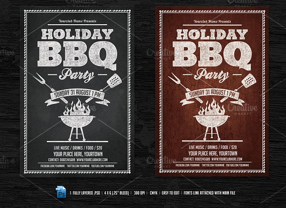holiday chalkboard barbecue menu example