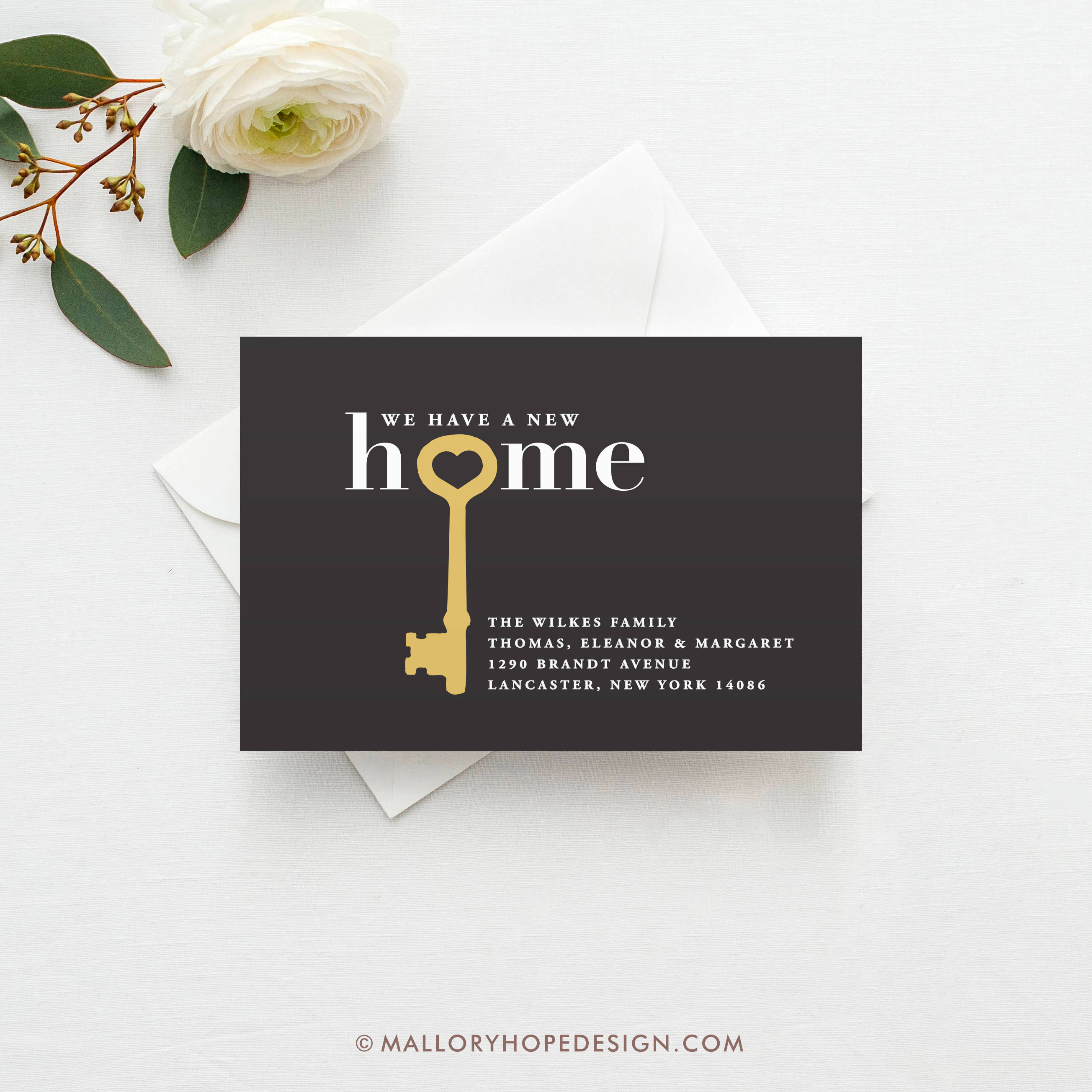 home key address postcard example
