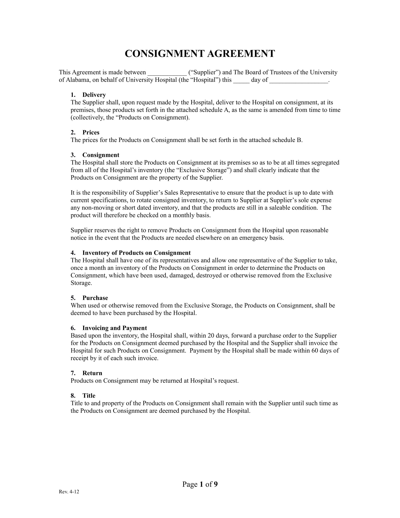 hospital consignment agreement example