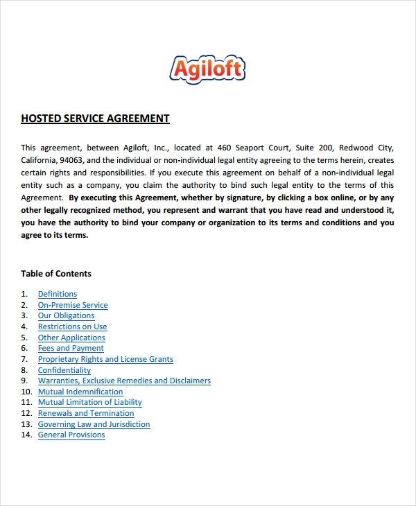 hosted service agreement