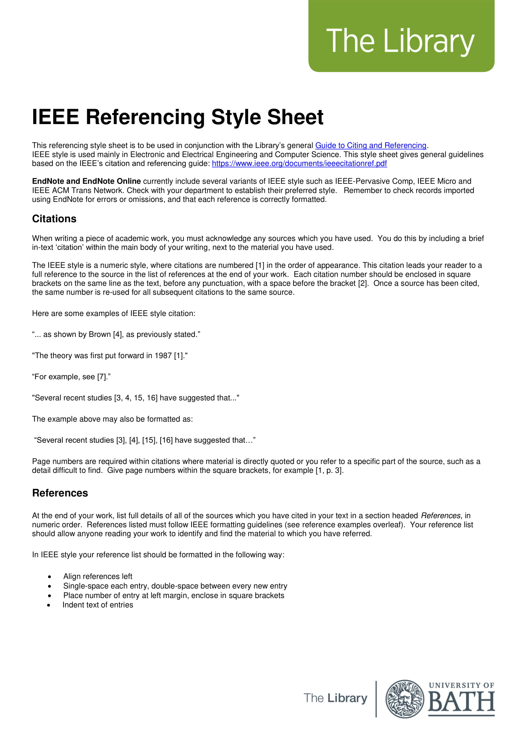 ieee referencing style sheet example