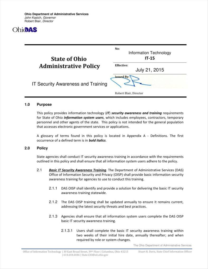 9 training policy templates and examples pdf for Security policy document template