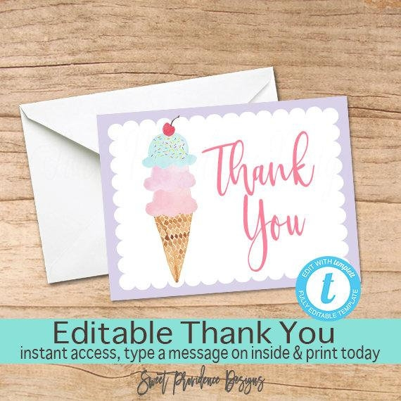 ice cream thank you card example