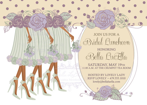 illustrated bridal luncheon invite example