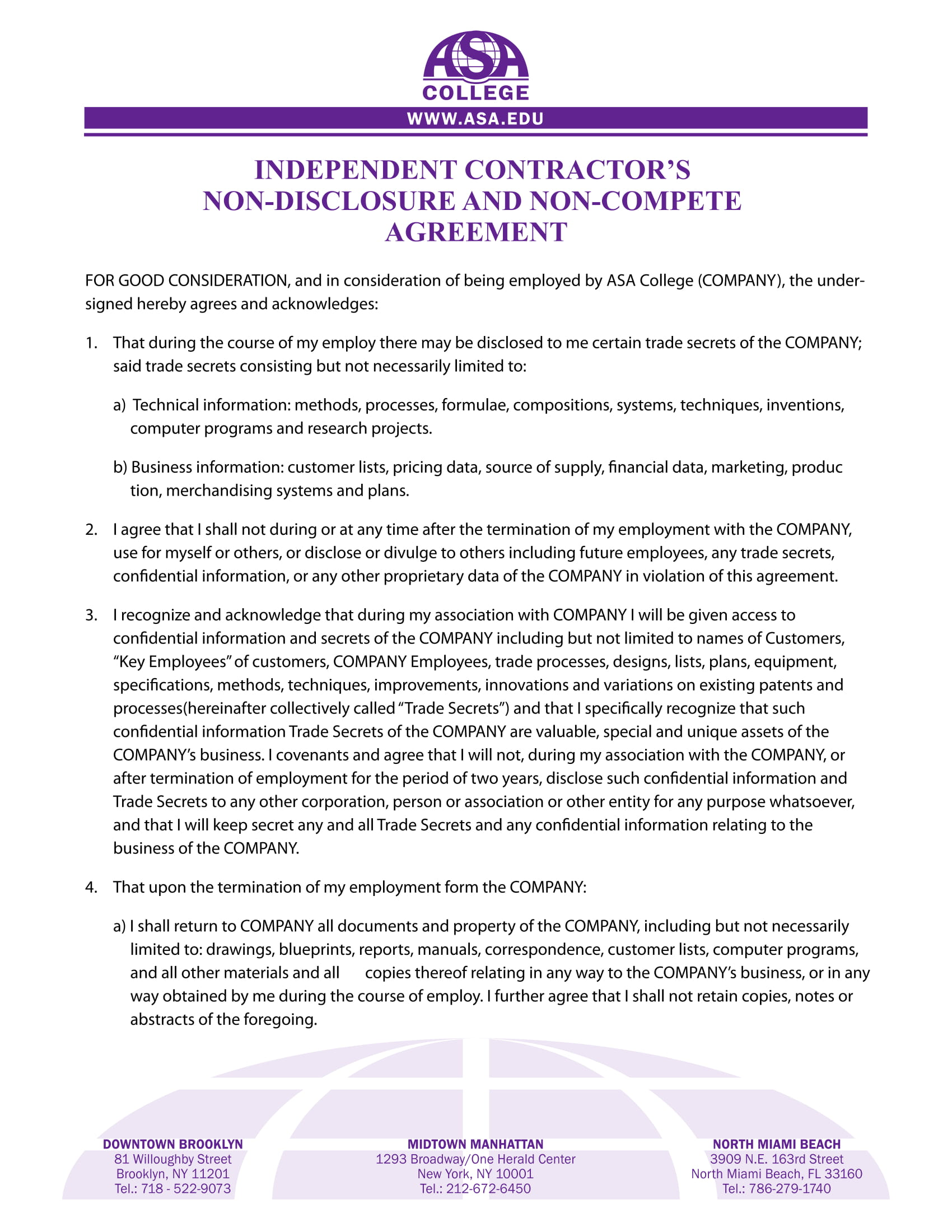 independent contractor non compete agreement example