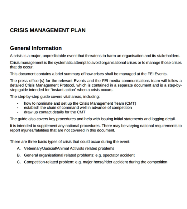 information on crisis management plan