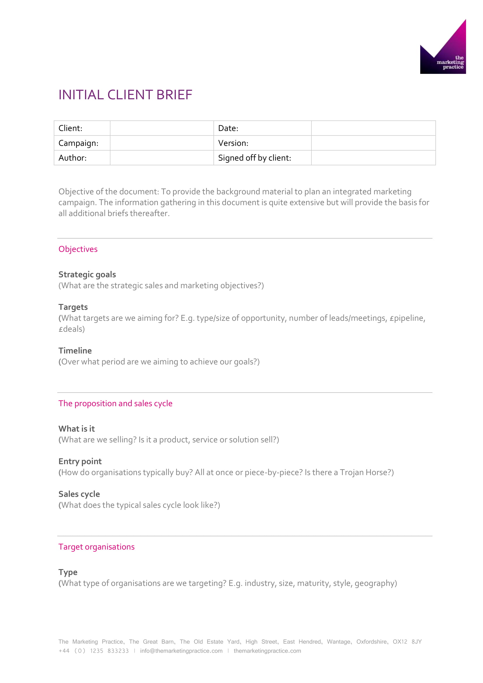 Initial-Client-Brief-Example Project Information Sheet Example on