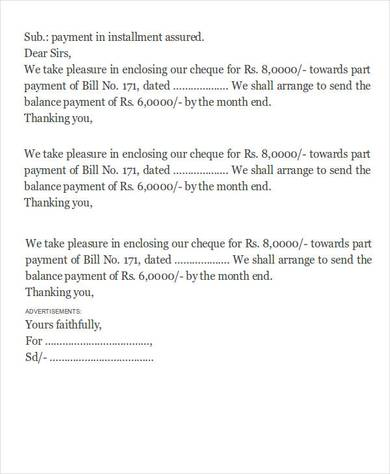 installment payment letter