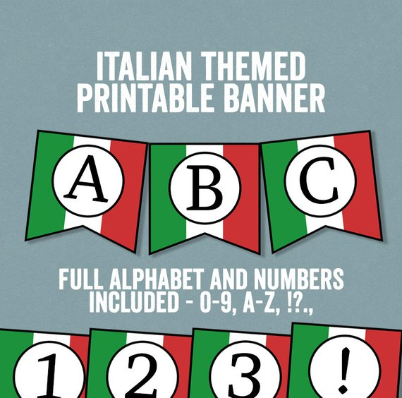 italian themed printable party banner example