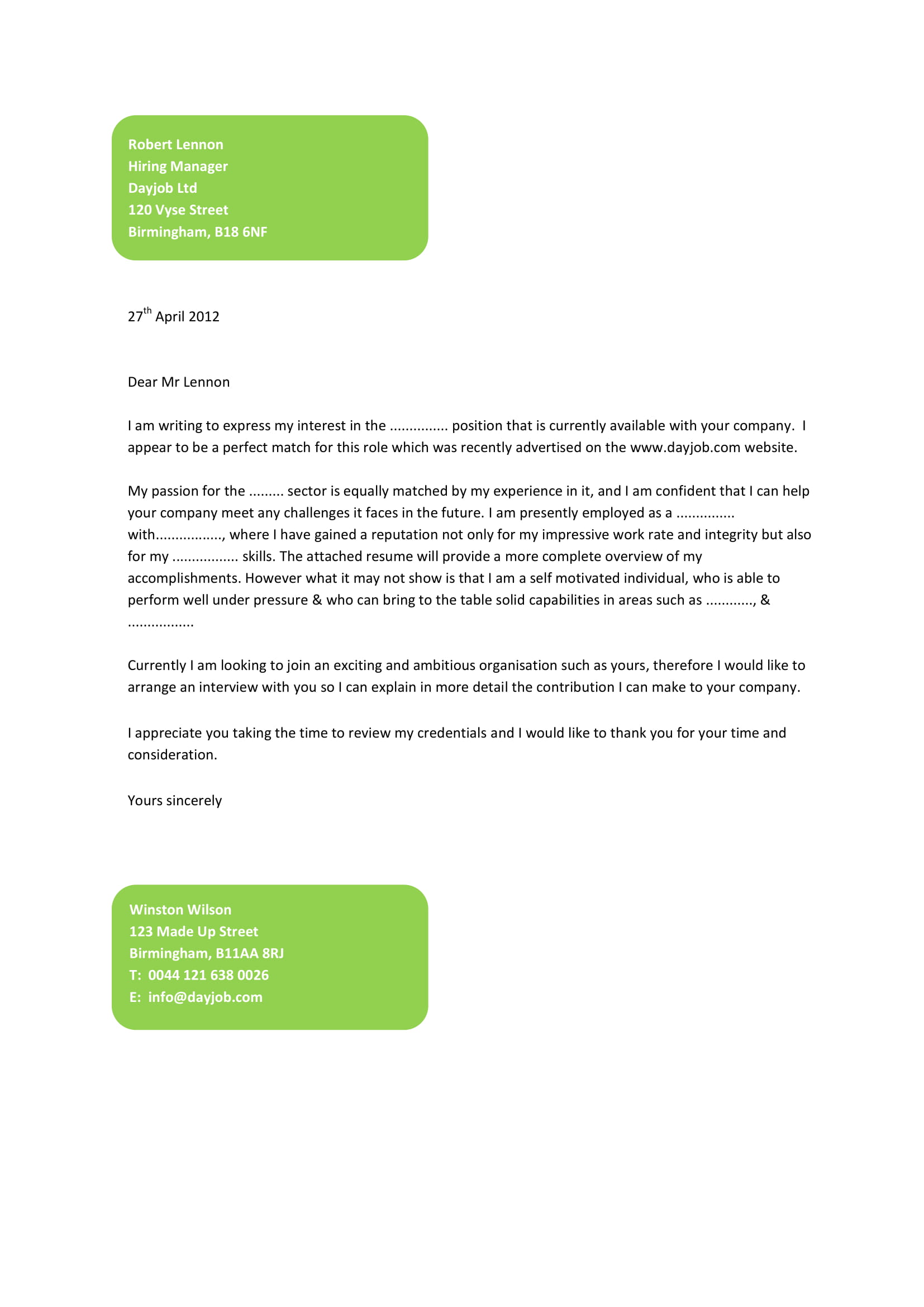 job application cover letter template example