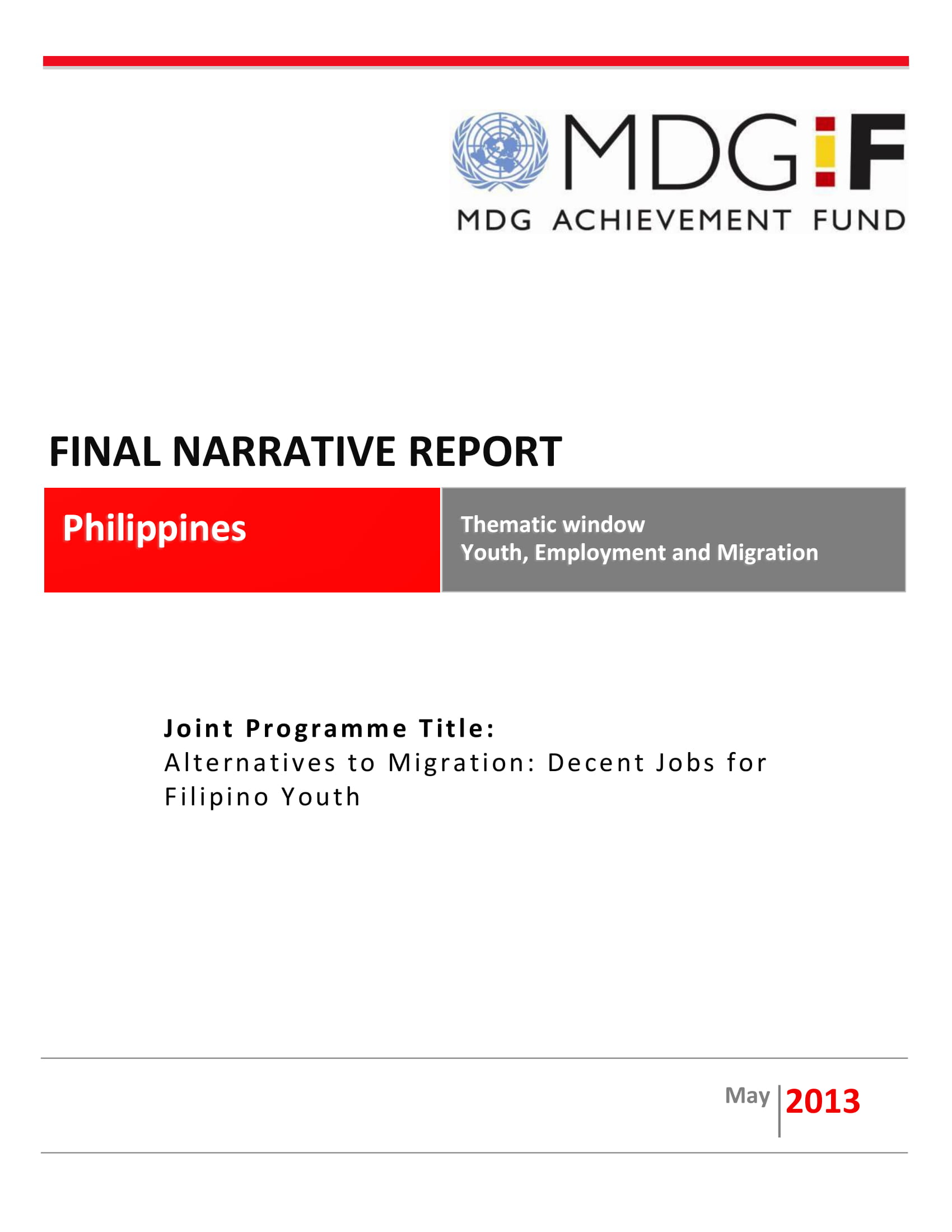 joint programme final narrative report example