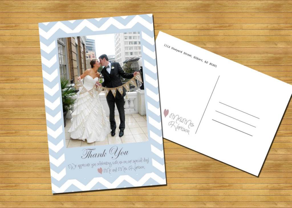 just married thank you postcard example